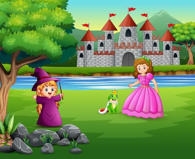 Princesa, brujita y príncipe rana sobre la naturaleza.