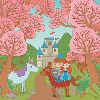 Princesa caballero y caballo de diseño de cuento de hadas.