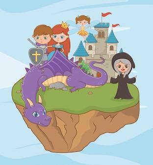 Princesa caballero dragón bruja y hada diseño