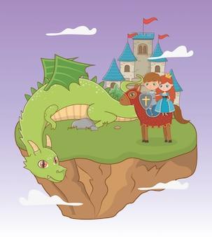 Princesa caballero dragón y caballo de diseño de cuento de hadas.
