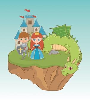 Princesa caballero y dragón de diseño de cuento de hadas.