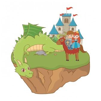 Princesa caballero y dragón de la ilustración de cuento de hadas