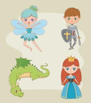 Princesa caballero hada y diseño de dragón