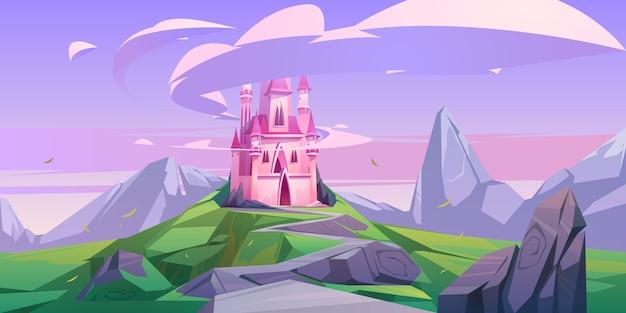 Princesa de castillo mágico rosa o palacio de hadas en roca