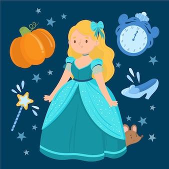 Princesa de cenicienta de dibujos animados con elementos lindos