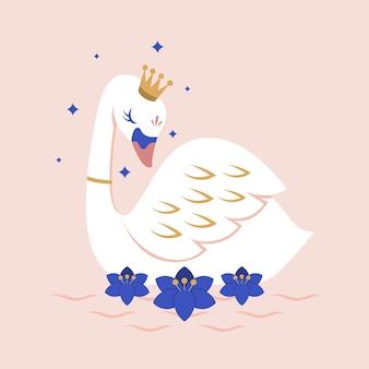 Princesa cisne con una corona en el agua