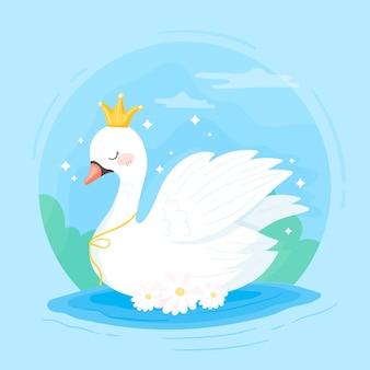 Princesa cisne con una corona en el desierto