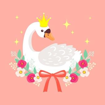 Princesa cisne con destellos dorados y flores