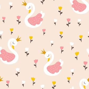 Princesa cisne de patrones sin fisuras con flores de tulipanes