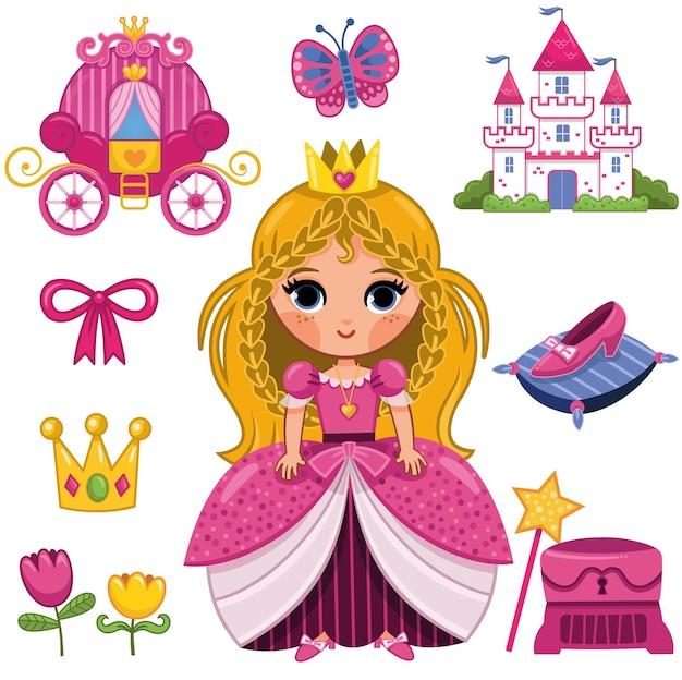 Princesa conjunto de pegatinas ilustración vectorial