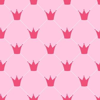 Princesa corona de patrones sin fisuras fondo ilustración vectorial. eps10