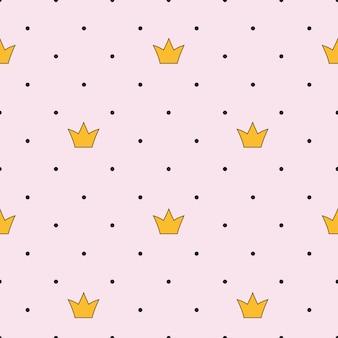 Princesa corona de patrones sin fisuras