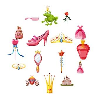 Princesa cuento de hadas muñeca iconos conjunto, estilo de dibujos animados
