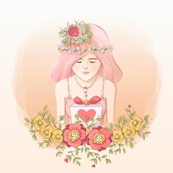 Princesa da un regalo con decoraciones florales
