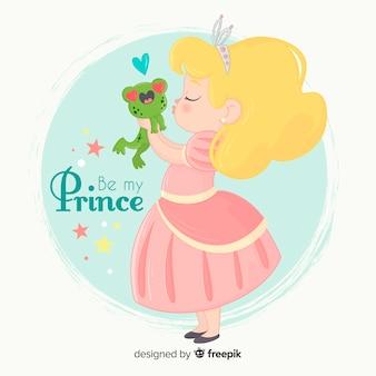 Princesa dibujada a mano besando a rana