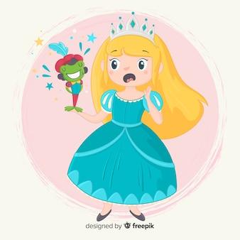 Princesa dibujada a mano con vestido azul