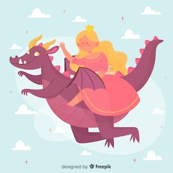 Princesa dibujada a mano con vestido rosa volando en un dragón