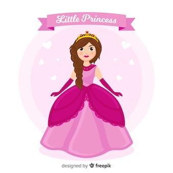 Princesa dibujada a mano con vestido rosa
