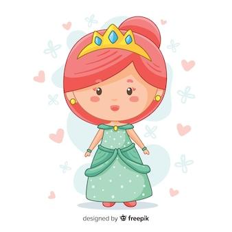 Princesa dibujada a mano con vestido verde