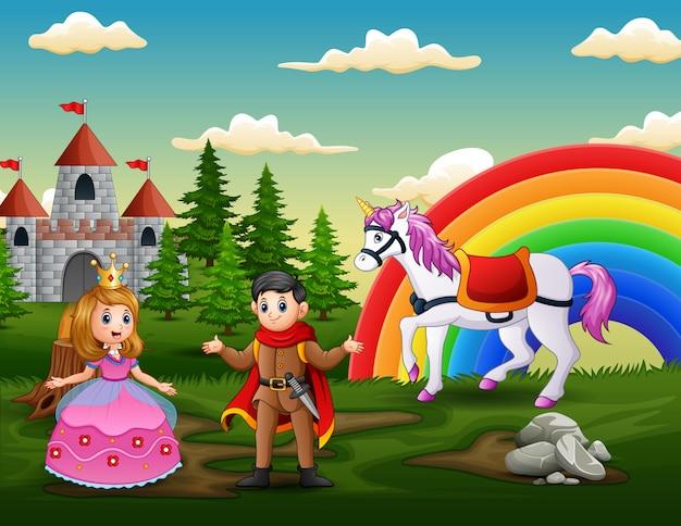 Princesa de dibujos animados y príncipe frente al castillo.
