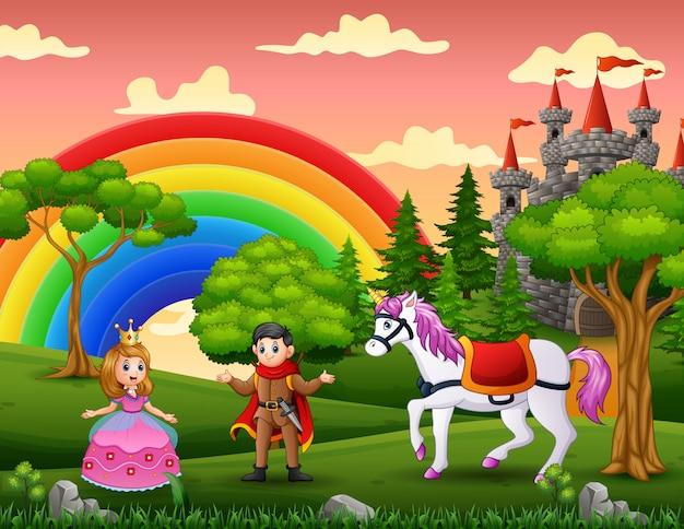 Princesa de dibujos animados y príncipe en el patio del castillo