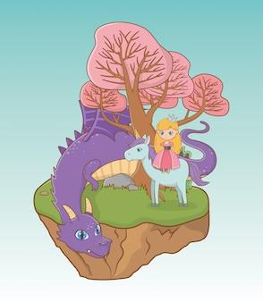 Princesa dragón y caballo de diseño de cuento de hadas.