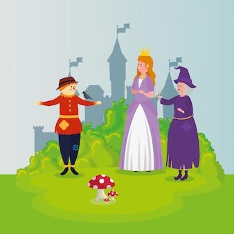 Princesa con espantapájaros y bruja en escena de cuento de hadas
