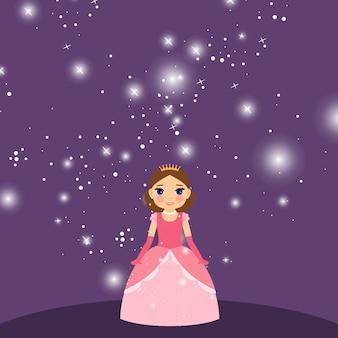 Princesa hermosa de dibujos animados sobre fondo violeta