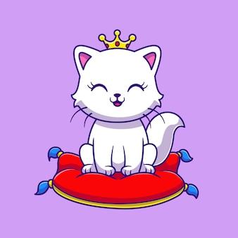 Princesa linda de la reina del gato que se sienta en la ilustración del icono del vector de la historieta de la almohada. concepto de icono de objeto animal aislado vector premium. estilo de dibujos animados plana