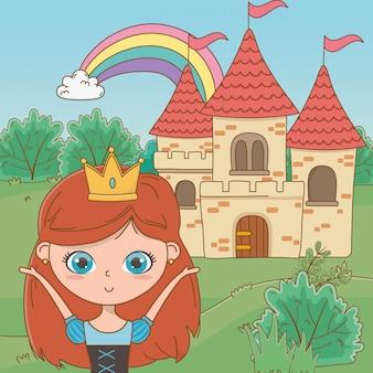 Princesa medieval de dibujos animados