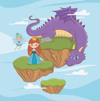 Princesa medieval y dragón de diseño de cuento de hadas.