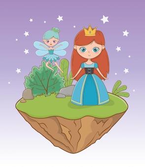 Princesa medieval y hada del diseño de cuento de hadas.