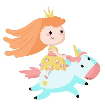 La princesa monta un icono de unicornio azul aislado sobre fondo blanco.