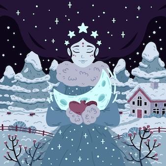 Princesa de la noche estrellada de invierno con media luna. hermosa mujer con cabello largo en el fondo con árboles y casa.