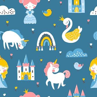 Princesa de patrones sin fisuras con castillo de cisne unicornio y arco iris