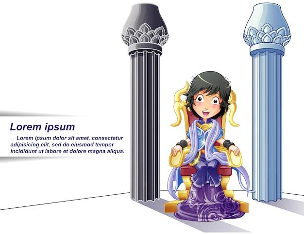 Princesa personaje en estilo de dibujos animados y pilares de fondo.
