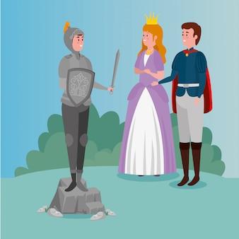 Princesa con príncipe y caballero con armadura en escena de cuento de hadas