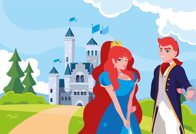 Princesa y príncipe con castillo de cuento de hadas en el paisaje