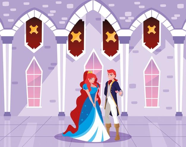 Princesa y príncipe en el castillo de cuento de hadas
