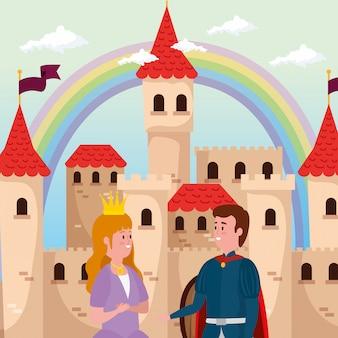 Princesa con príncipe y castillo en escena de cuento de hadas