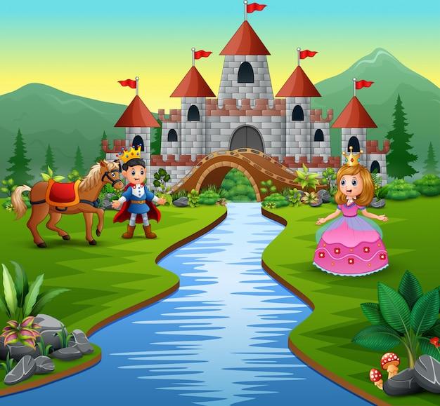 Princesa y príncipe en el hermoso paisaje.