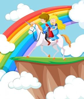 Princesa y príncipe montando a caballo