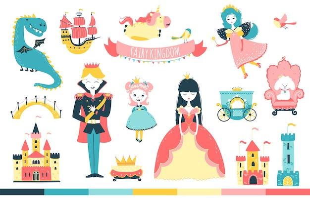 Princesa con príncipe y personajes en la ilustración de dibujos animados del reino de las hadas en estilo doodle