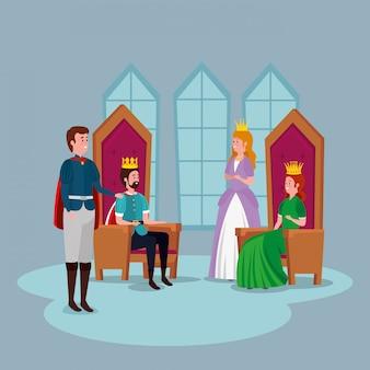Princesa con príncipe y reyes en castillo