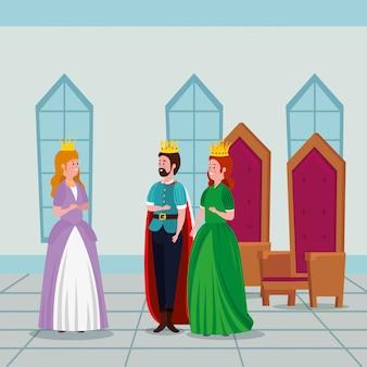 Princesa con rey y reina en castillo