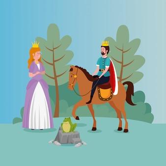 Princesa con rey y sapo en escena de cuento de hadas