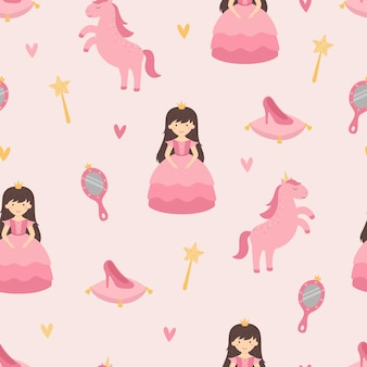 Una princesa con un unicornio patrón de guardería sin costuras accesorios de princesa