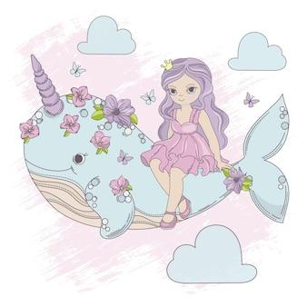 Princesa de vuelo unicornio ballena de dibujos animados