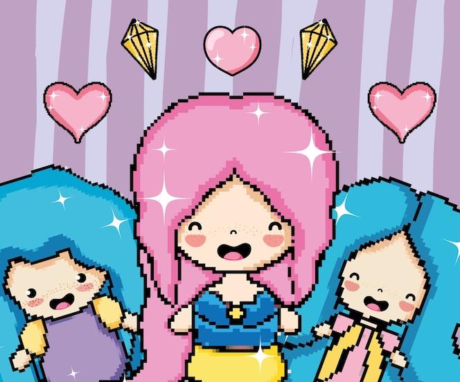 Princesas de pixel art con corazones y diamantes