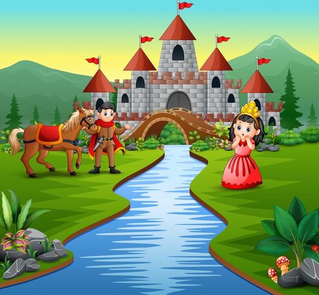 Princesita y príncipe en el hermoso paisaje.